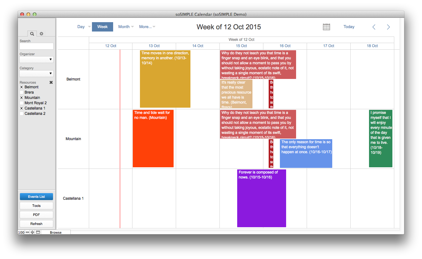 Filemaker calendar and resource scheduler by sosimple sosimple one week timeline filtered resources saigontimesfo